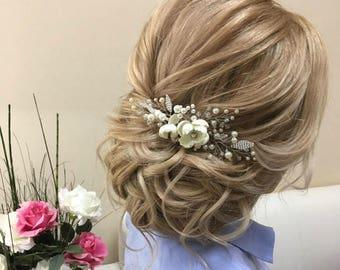 Bridesmaid hair comb flower hair comb, Bridal comb Pearl hair comb wedding hair piece, Bridal headpiece Wedding hair accessories Bridal hair