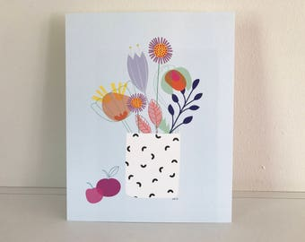 "Colorful flower print 10""x8"""
