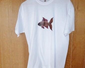 Burgundy and brown fish man t-shirt S-XXL