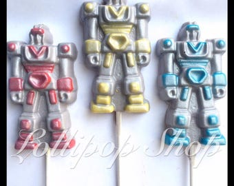 12 Transformers chocolate lollipops (Birthday, party favors, lollipops, robot)