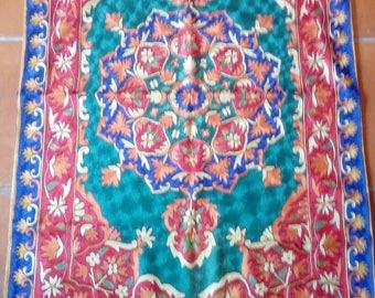 Small silk Kasmiri handicraft rug