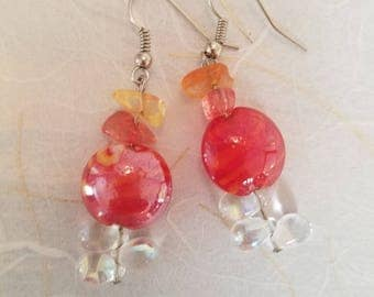 Fire & Ice Glass and Crystal Earrings