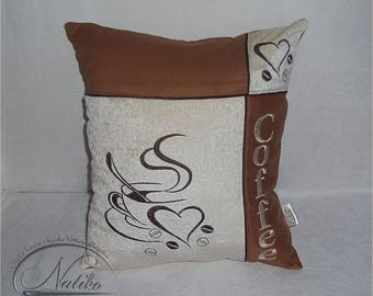 Kitchen pillow cover Gift pillow for her Pillow cover Designer pillow Sofa pillows Coffee decor But first coffee Embroidered pillow Coffee