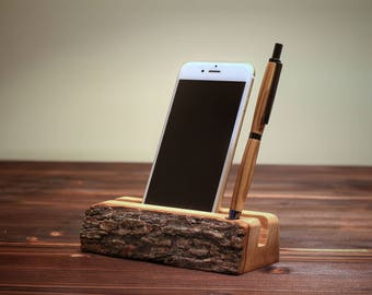 Cell phone holder in olive wood