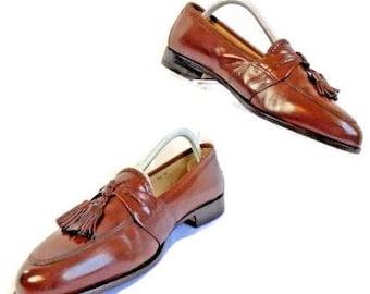 Johnston & Murphy Men's Size 8.5 Med, Brown Leather, Tassel, Loafer