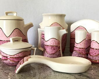 Retro Kitsch 1980's Modern Southwestern Style 10 Piece Set | Pink White and Gold | Vintage Kitchenware  | Southwestern Pottery