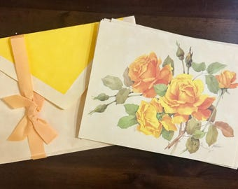 Vintage Whiting Yellow Rose Floral Notecard Set of Four