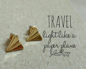 Origami Plane Earrings, Gold Paper Plane Earrings, Airplane Stud Earrings, Origami Airplane Earrings,Paper Plane Studs,Origami Stud Earrings