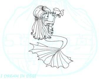 DIGI STAMP, coloring page,mermaid