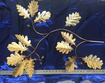 """34"""" Solid Brass Oak Leaf & Acorn Spray"""