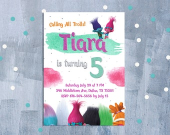 Trolls Invitation, Trolls Birthday Invitation, Trolls Birthday Party, Trolls Party Invite, Trolls Digital Invitation, Personalized JPEG