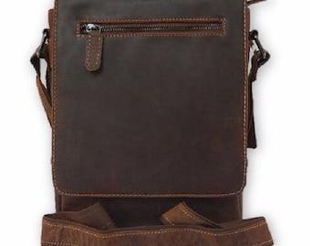 Handmade Genuine leather mini messenger satchel iPad bag - Brown