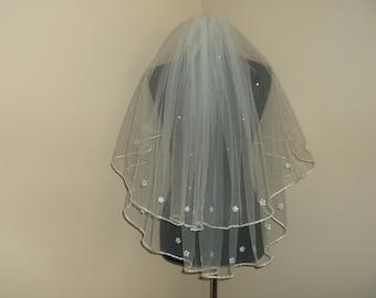 Ivory 2 Tier Rhinestone/Sequin Beaded Wedding Veil