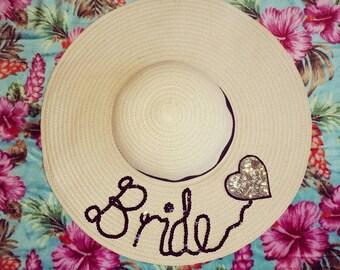 Bride Personalized Honeymoon hat, floppy hat customised hat, custom straw hat, personalised hat, custom beach hat, bride hat, straw hat