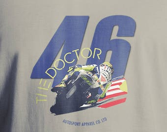 Valentino Rossi T-Shirt, Men's T-Shirt, Women's T-Shirt, MotoGP T-Shirt, Motorcycle T-Shirt, The Doctor Number 46 T-Shirt