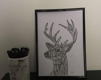 Zentangle Deer Print