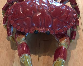 Vintage Portuguese Bordallo Pinheiro Ceramic Crab--Perfect Centerpiece or Serving Piece-No Chips-Priced to Sell