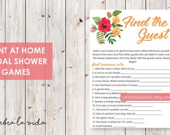 Find the Guest Bridal Shower Game. Instant Download. Printable Bridal Shower Game. Yellow Flowers. Red and Orange - 02