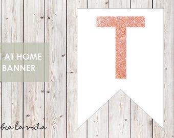 DIY Banner - 'T'. Instant Download. Printable Banner Letters. Pink Glitter. - 01