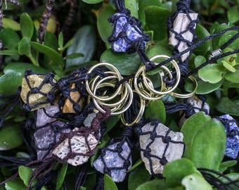 Rough Healing Crystal Keychain-Healing Crystal- Crystal Healing- Boho/ Indie Style- Fun Gifts- Wearable Art- Rough Stones-Amethyst