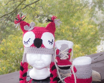 Baby Pac Winter Boots W/Sleepy Owl Hat