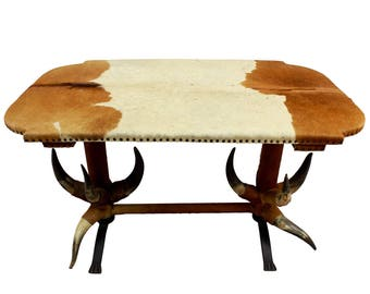 antique bull horn table ca. 1870