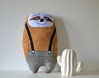 "Plush sloth ""Bernard"" suede / large / child's room decor"
