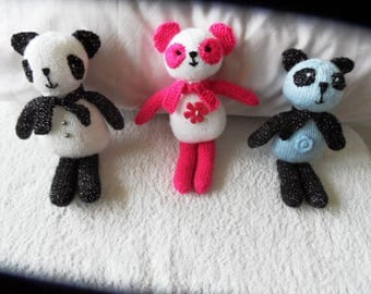 Hand Knitted Colorful Panda