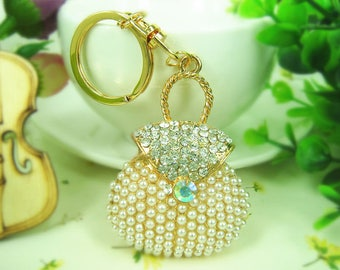 Rhinestone and Pearl Key Chain Purse Jewelry and yes, it's a Purse!