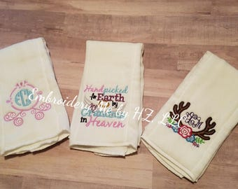 Baby girl embroidered burp cloth set of 3