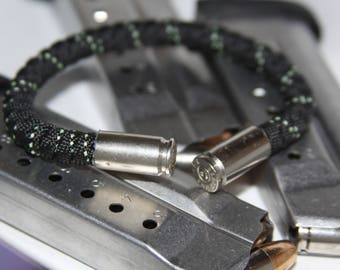 9mm Bullet Casing & Paracord Bracelet - Black and Glow in the Dark Paracord, Made in the USA