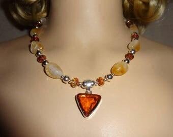 HANDMADE Silver & Citrine Nugget w/ Swarovski Chunky Statement Necklace Earrings