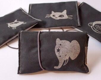 Tobacco pouch black grey, silver