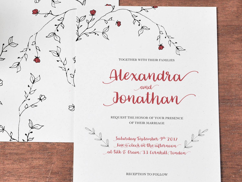 Printable Romantic Red Black White floral Wedding Invitation, Black ...