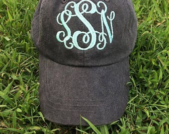 Embroidered Monogram Hat | Pigment Dyed Hat | Personalized Hat | Pool Day | Monogram Baseball Cap | Personalized Ball Cap |