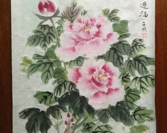 Chinese decor flower painting peony flowers perfect gift art and home decoration