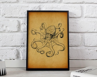 Octopus poster, Octopus print, Octopus wall art, Octopus decor, Gift poster, Nautical art print, Nautical decor, Nautical poster