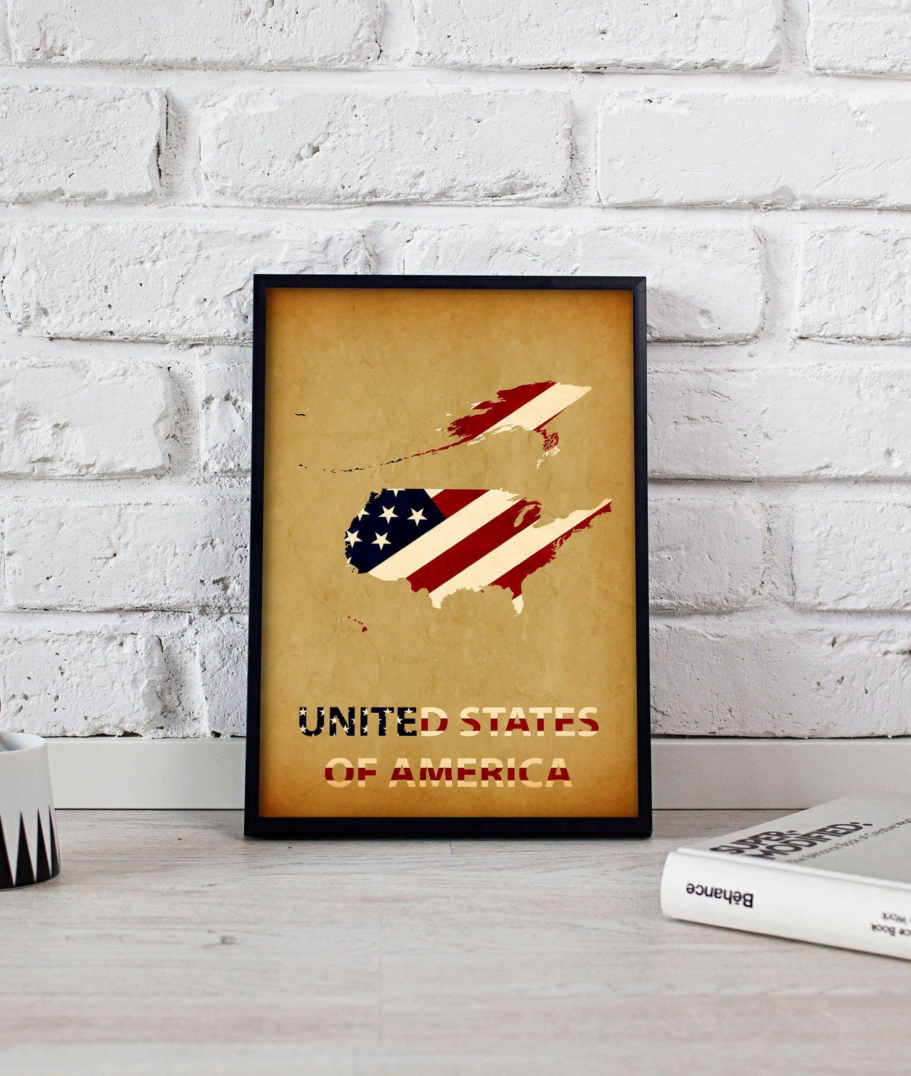 United States America Art USA Art USA Poster US Map Poster - Free us map poster