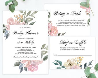 Blush Pink Baby Shower Invitation Set Template Download Watercolor Floral Baby Shower Invitation Book Request and Diaper Raffle Girl DIY WF1