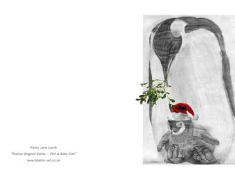 Christmas Festive Animal Portrait Greetings Cards, Pencil Animal Sketch, Animal Seasons Greetings Card, Blank Card