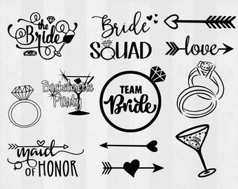 Bride SVG Bundle, Bachelorette clipart, Bachelorette cut files, svg files for silhouette, files for cricut, svg, dxf, eps, cuttable design
