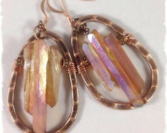 Topaz Coated Natural Quartz & Copper Earrings