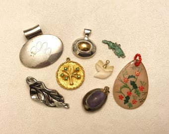 Vintage Pendant Lot Dog Paw Print Tree of Life Tooth St. Thomas Roman Shell Leaf Asian