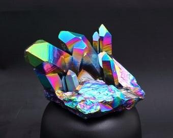 Aura Quartz Rainbow Titanium Crystal Cluster xl 418gm