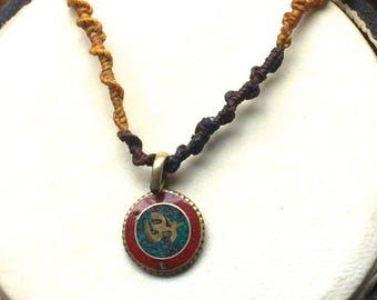 Macrame necklace with Om Symbol Pendant