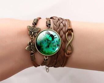 Classic Butterfly Bangles Bracelets Fashion Glass Cabochon Bracelet for Women Newest Bronze Leather Bracelet