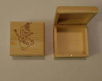 Pyrography Handcrafted Wood Burned Wood Burning Box Frozen Olaf Snowflake Keepsake Tooth Fairy