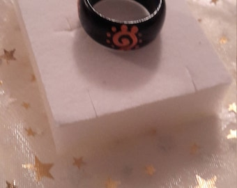 Handmade Wooden Ring with Fiery Sun