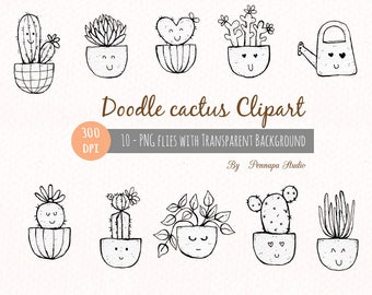 Doodle cactus with paper texture, hand drawn clipart