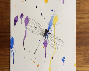 Painting illustration Dragonfly watercolor painting illustration dragonfly watercolor